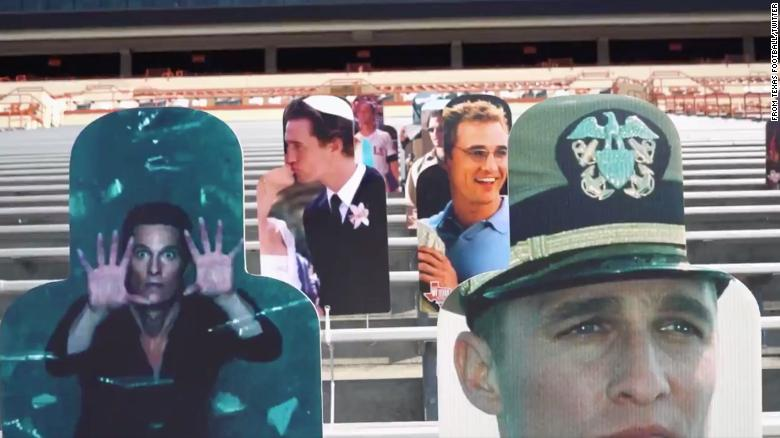 Cutouts of Matthew McConaughey filled the stands at a Texas football game