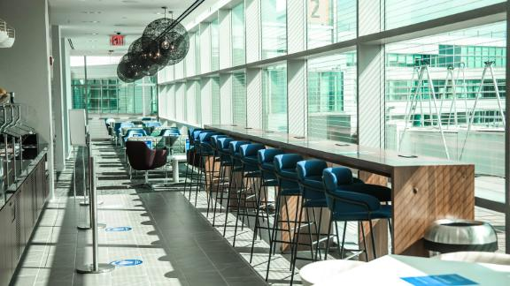 Access airport lounges like the Amex Centurion Lounge at New York