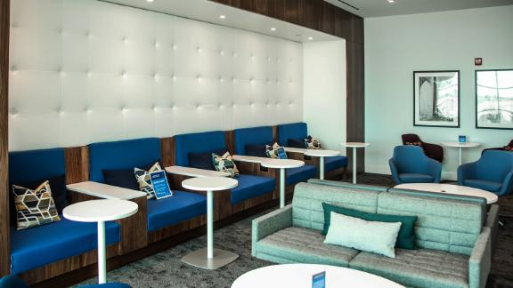You'll find additional seating rooms on the bottom floor of the JFK lounge.