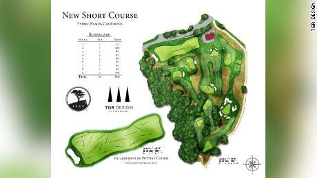 An illustration of the Short Course at Pebble Beach, California.