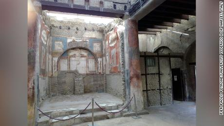 Part of the college of the Augustales, the building in Herculaneum where the young man's remains were found in the 1960s.