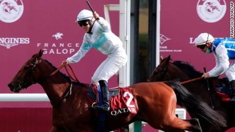 Jessica Marcialis, of Italy, riding Tiger Tanaka to victory in the Qatar Prix Marcel Boussac.