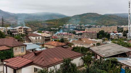 Smoke rises in Stepanakert, Nagorno-Karabakh on Sunday.