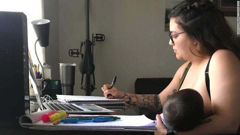A college student says a professor told her not to breastfeed her baby during online class