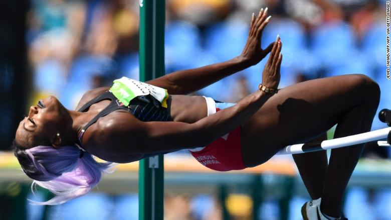 Antigua's Priscilla Frederick competes in the Women's High Jump Qualifying Round during the athletics event at the Rio 2016 Olympic Games at the Olympic Stadium in Rio de Janeiro on August 18, 2016.   / AFP / Jewel SAMAD        (Photo credit should read JEWEL SAMAD/AFP via Getty Images)