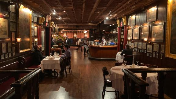 The scene inside Keens, the famed NYC steakhouse, after reopening for indoor dining.