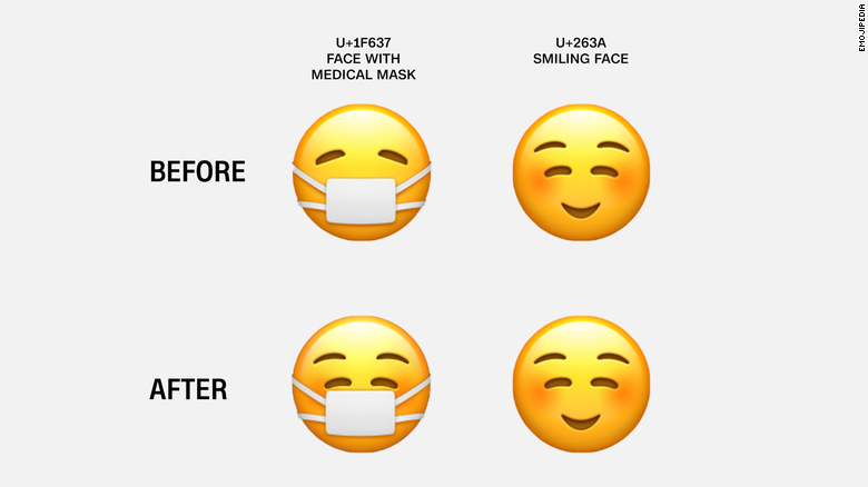 Apple's new face mask emoji is now hiding a smile