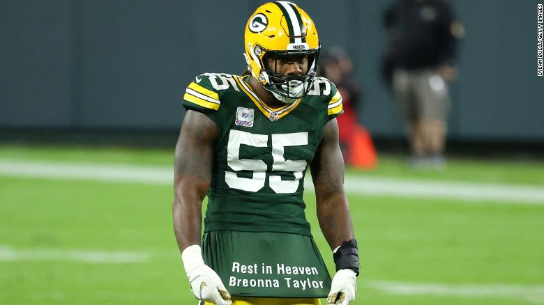 Green Bay Packers' Za'Darius Smith reveals 'Rest in Heaven Breonna Taylor' message after a sack