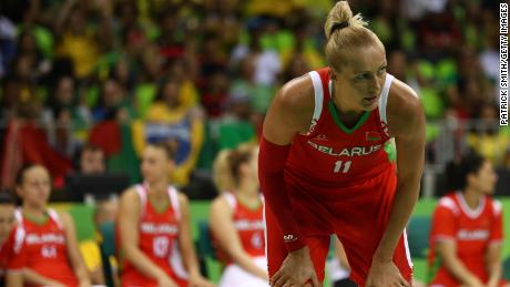 Leuchanka looks on against Brazil in the Women's Basketball Preliminary Round Group A match during the Rio 2016 Olympic Games.