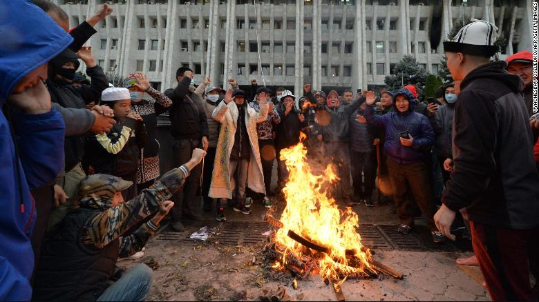 Protesters and vigilantes scuffle in Kyrgyzstan capital as political crisis festers