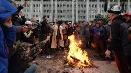 Kyrgyzstan protesters and vigilantes scuffle in Bishkek as political crisis festers