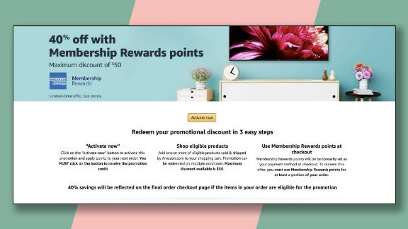 Targeted American Express card members can get this offer for 40% off at Amazon for up to $50 in savings, or one of two other offers.