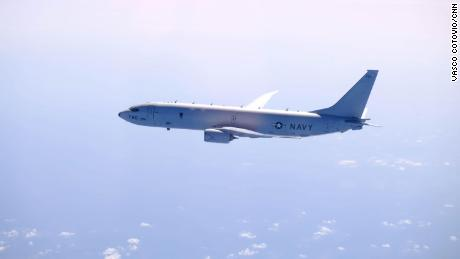 A P-8A Poseidon -- a multi-mission maritime patrol aircraft that specializes in anti-submarine warfare; surveillance and reconnaissance; and search and rescue.