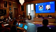 The winners of the 2020 Nobel prize in Chemistry are announced at the ceremony in Stockholm on Wednesday.