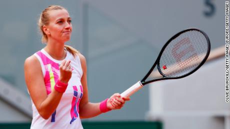 Kvitova celebrates her win against Laura Siegemund.