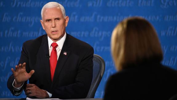 Pence debates US Sen. Kamala Harris at the vice presidential debate in October 2020.