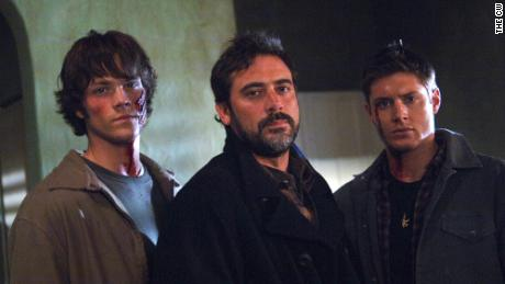 """A scene from an early episode of """"Supernatural."""" Pictured are Jared Padalecki, guest star Jeffrey Dean Morgan and Jensen Ackles."""