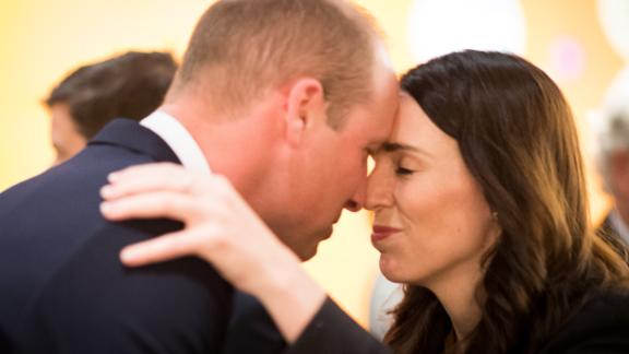Jacinda Ardern greets Prince William with a hongi, a traditional Māori greeting, as they attend an Anzac Day service remembering fallen soldiers on April 25, 2019 in Auckland. Prince William was in New Zealand to commemorate the people killed in the Christchurch mosque terror attacks.