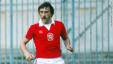 Panenka is seen representing Czechoslovakia in the 1980 European Championship.