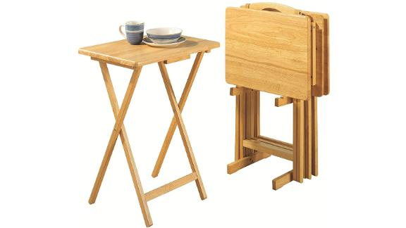 PJ Wood Folding TV Tray and Table- 5 Piece Set