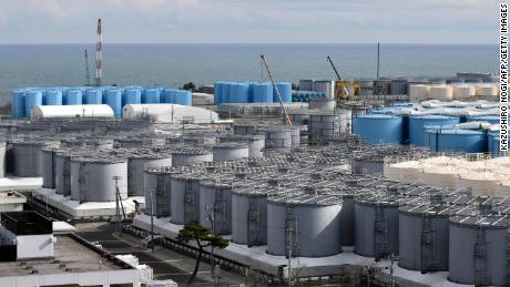 This picture taken on Feb. 3, 2020 shows storage tanks for contaminated water at the Tokyo Electric Power Company's nuclear power plant in Okuma, Fukushima prefecture.