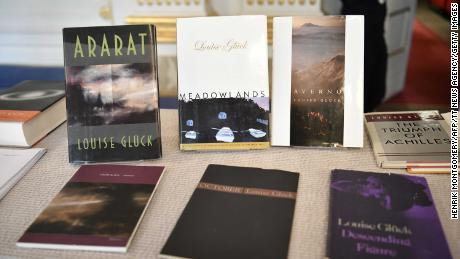 Louise Gluck's books are on display during the announcement of the 2020 Nobel Prize in literature at the Swedish Academy in Stockholm on October 8, 2020.