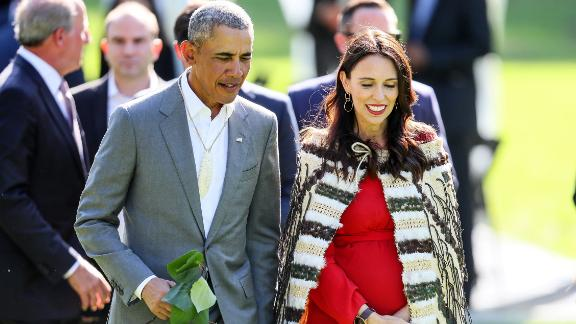 Barack Obama attends a pōwhiri -- a formal Māori welcoming ceremony -- with New Zealand Prime Minister Jacinda Ardern at Government House on March 22, 2018 during his visit to Auckland.