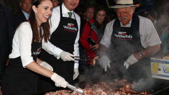 Jacinda Ardern and her coalition partner, Green Party leader James Shaw and former Labour Party politician Dover Samuels, cook breakfast on February 6 to mark Waitangi Day, a national holiday commemorating the signing of the Treaty of Waitangi between Māori chief and the British Crown.