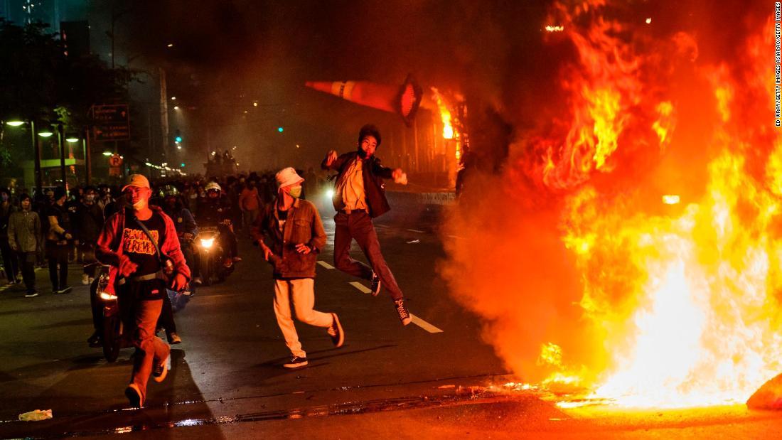 Indonesia protests: Hundreds arrested at 'omnibus law' demonstrations in Jakarta