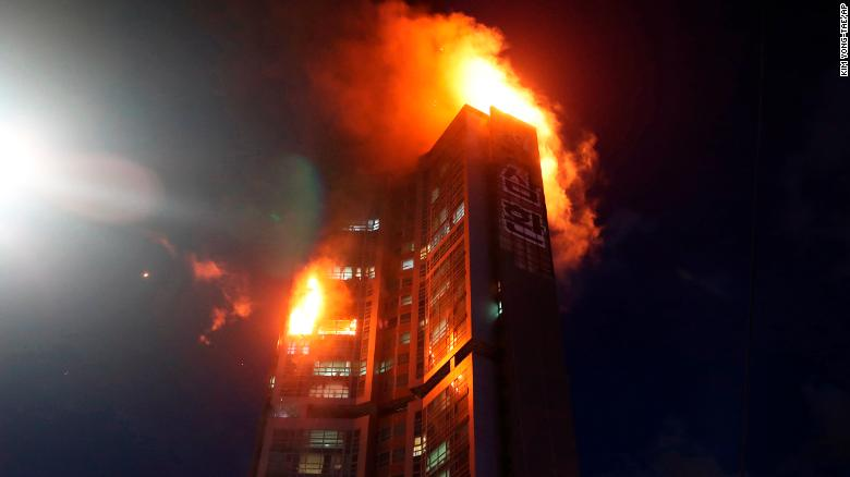 The fire broke out at an apartment building in Ulsan, South Korea, on October 9.