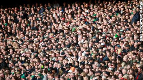 Rugby fans in the stands during the Six Nations match at Twickenham Stadium, London.