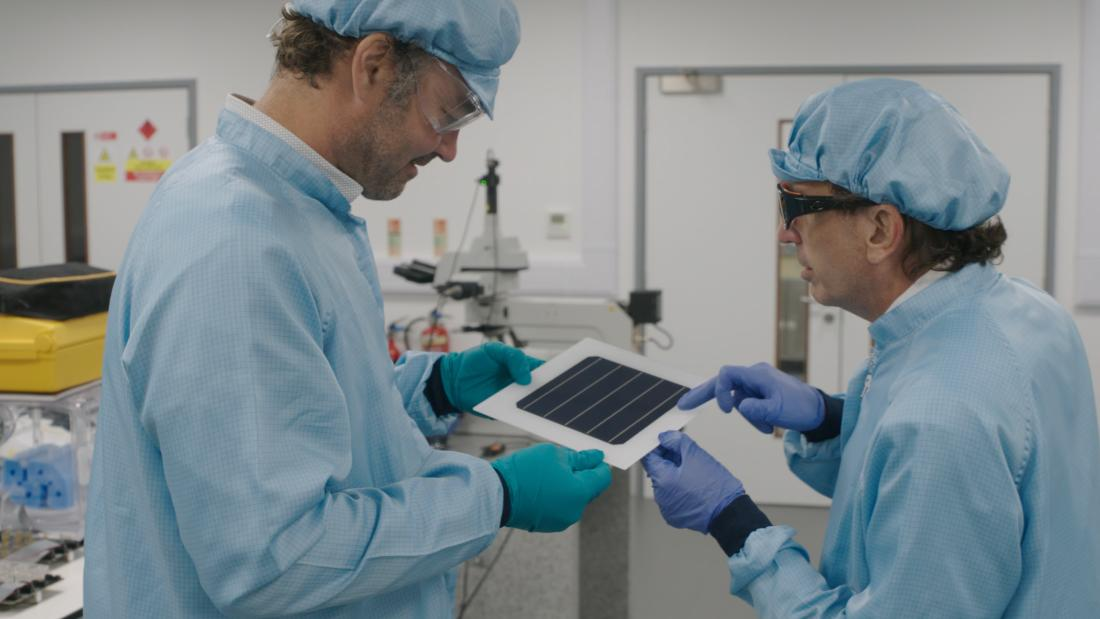 "Henry Snaith, left, and Christopher Case, of UK company Oxford PV, which is working with perovskite to generate solar energy. Case says the material is ""the most significant development in solar photovoltaics in 65 years."" <em>CNN</em>"