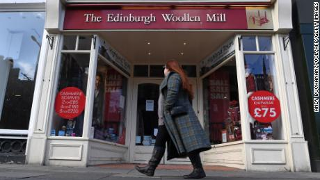 A closed branch of The Edinburgh Woollen Mill in Edinburgh on October 9.