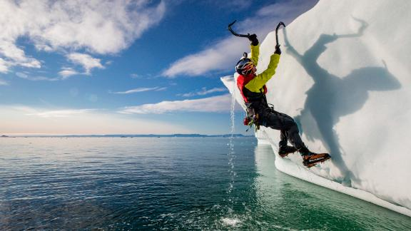 WIll Gadd climbing an iceberg near Ilulissat, Greenland on August 27, 2018. // Christian Pondella/Red Bull Content Pool // SI201903140241 // Usage for editorial use only //