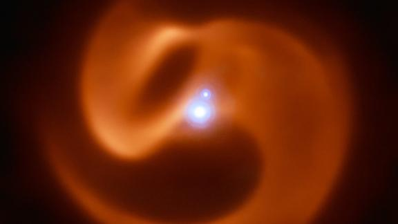 This is an infrared image of Apep, a Wolf-Rayet star binary system located 8,000 light-years from Earth.