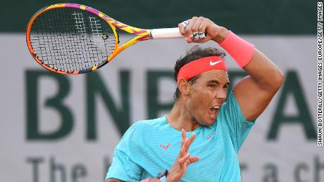 Nadal whips a forehand during his semifinal match against Diego Schwartzman.