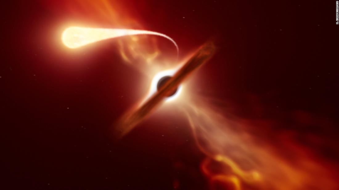 "A star experienced ""spaghettification"" as a black hole shredded it into thin strips 215 million light-years away. Astronomers used multiple telescopes to watch the event."