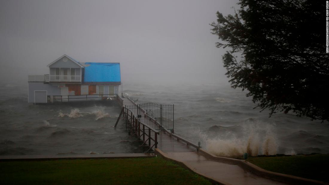 Storm surge in Lake Charles as Hurricane Delta makes landfall in Louisiana on Friday, October 9.
