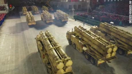 Rocket launchers are seen in North Korea's military parade broadcast Saturday evening.