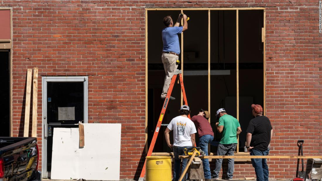 Residents of Jennings, Louisiana, were already working on October 10 to repair windows damaged by Hurricane Delta.
