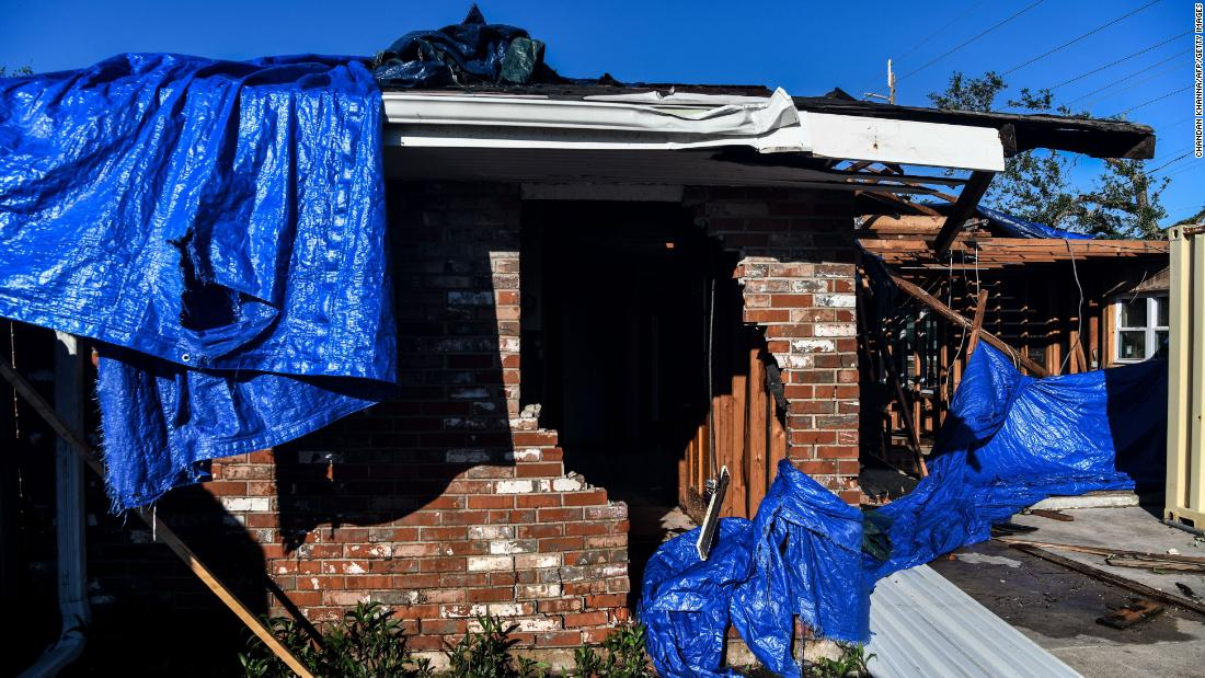 A badly damaged house in Lake Charles, Louisiana, on October 10, one day after the storm hit the area.