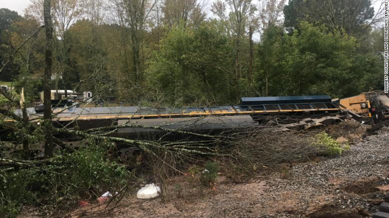 CSX train derails in Georgia after heavy rains from remnants of Hurricane Delta