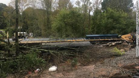 A CSX train derailed in Gwinnett County, Georgia, early Sunday morning following heavy rains from Hurricane Delta.