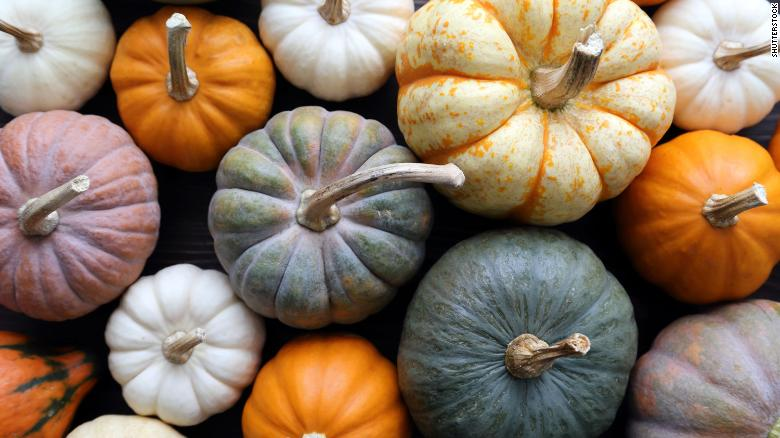 At the farmers market, gather pumpkins for roasting. Look out for sugar pumpkins and milk-fed pumpkins, which are best for cooking.