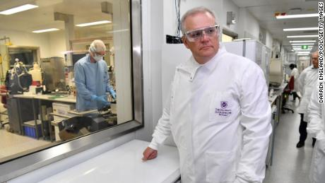 Morrison took a tour of the University of Queensland vaccine lab on Monday.