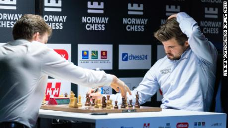 Jan-Krzysztof Duda (left) hands Magnus Carlsen his first defeat in more than two years in classical chess during the Norway Chess tournament.
