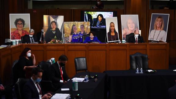 Poster boards of people who may lose their health insurance if the Affordable Care Act is repealed are set up prior to start of the Senate Judiciary Committee confirmation hearing for Supreme Court Justice on Capitol Hill on October 12, 2020 in Washington, DC.