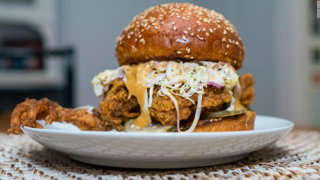The fried chicken sandwich with a claw