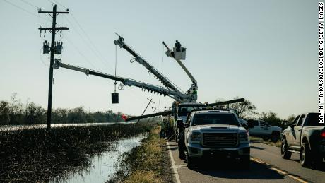 The utility team is working to restore power after the hurricane delta landed in Pecan Island, Louisiana on Saturday, October 10, 2020.