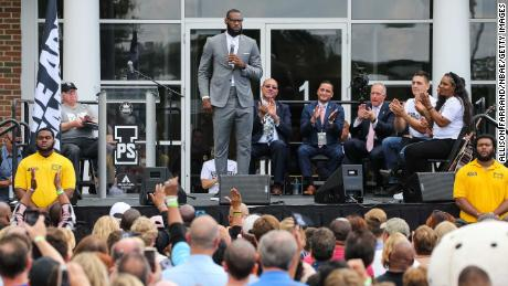 LeBron James addresses a crowd of students, parents, local officials and sponsors at the grand opening of his I Promise school on July 30, 2018 in Akron, Ohio.